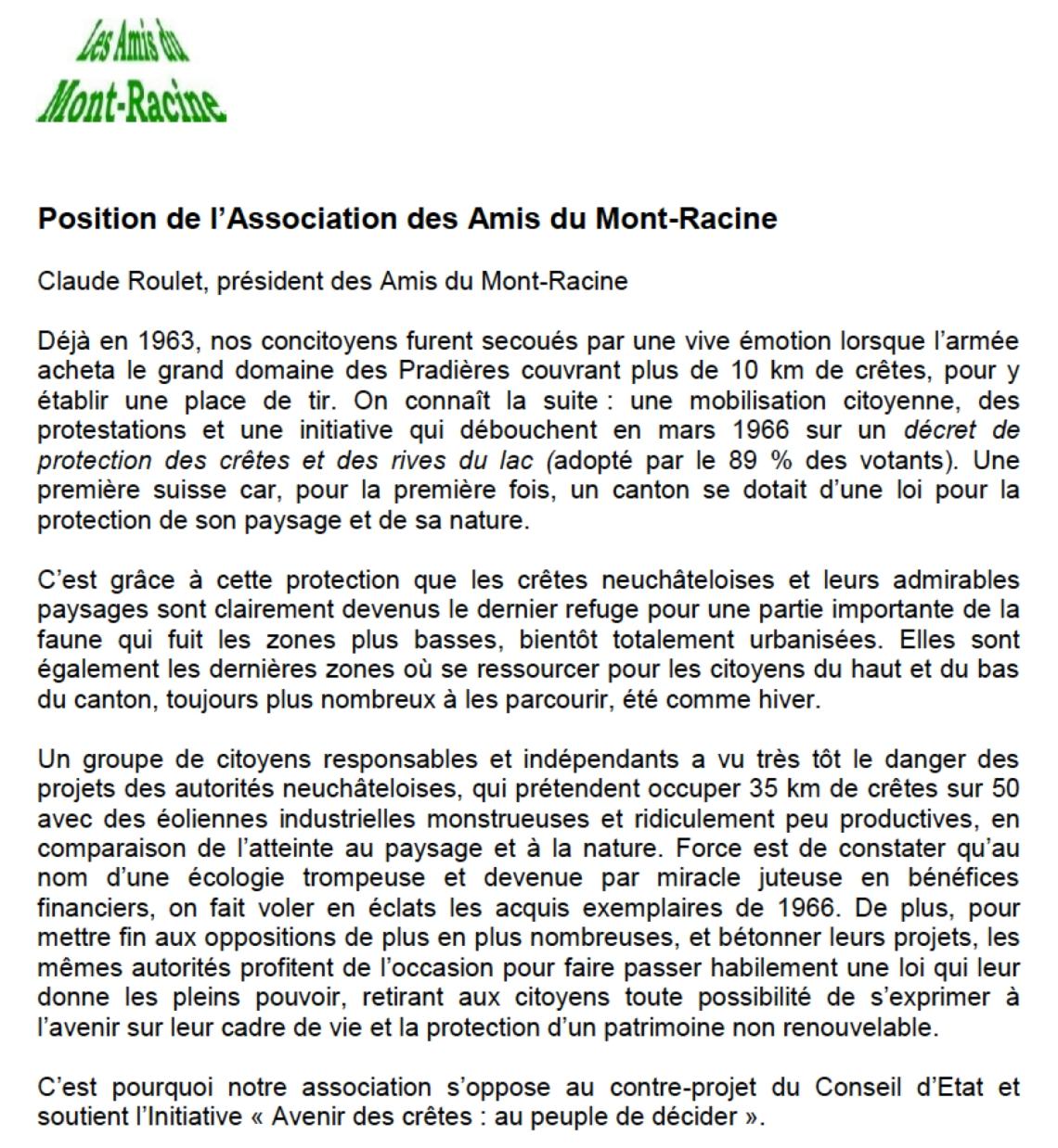 Amis du Mont-Racine Claude Roulet