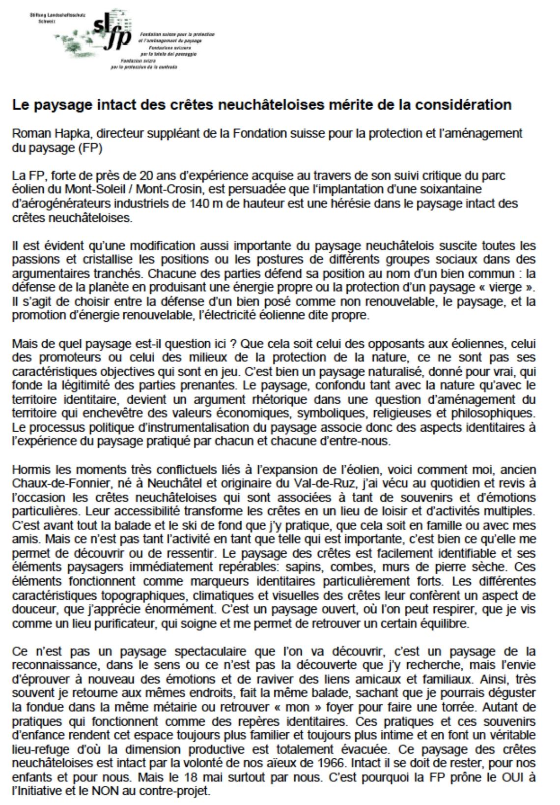 Fondation suisse pour la protection du paysage Roman Hapka