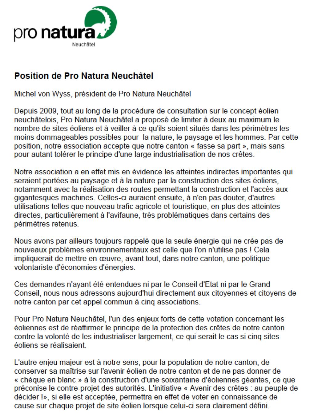 Pro Natura Michel von Wyss