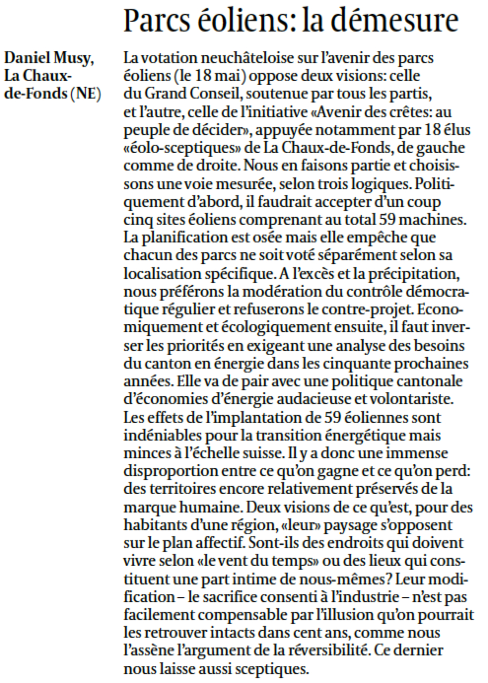 DM tribune libre Temps 22 avril